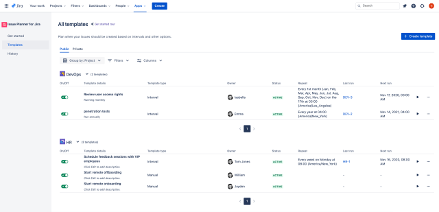 List of repeating tasks in Scheduled Templates for Jira