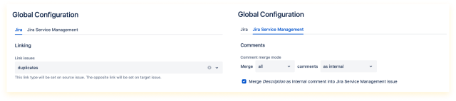 Global configuration available under Manage apps > Issue Merger