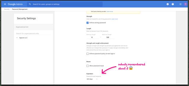 Google admin panel - Password management