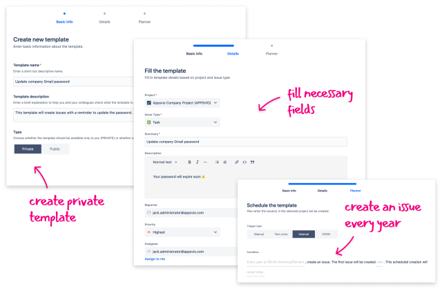 Create template with Scheduled Templates for Jira