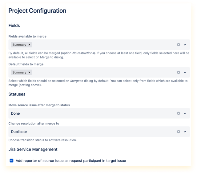 Project configuration of Issue Merger available for project administrators